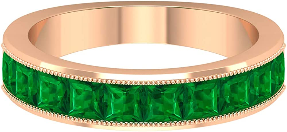 1.50 CT Anniversary Band for Women with Lab Created Emerald (3 MM Princess Cut Lab Created Emerald), 14K Gold