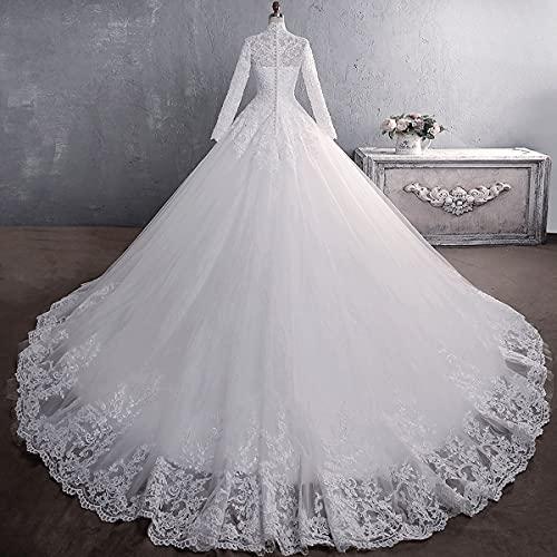 Lange Formale Brautkleider für die Braut,Langarm Brautkleid mit hohem Kragen,Spitzenstickerei, 65 cm Langer Schwanz, Unterstützung...