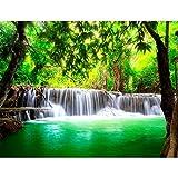 Carta da parati fotografica 396 x 280 cm cascata Natura | Vello Decorazione Murale Soggiorno Camera Da Letto | Manifattura tedesca | bianco verde 9006012a