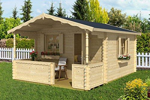 *Gartenhaus G62 inkl. Fußboden – 44 mm Blockbohlenhaus, Grundfläche: 12,90 m², Satteldach*