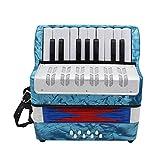 WanBeauty Acordeón, Mini acordeón de 17 teclas, 8 bajos, mini piano acordeón juguete para niños principiantes, instrumento musical para el hogar y el aula, azul claro