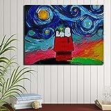 Pintura al óleo de Snoopy, póster de perro moderno y grabado, lienzo, cuadro, decoración de pared, cuadros, decoración, sala de estar, arte, decoración sin marco, lienzo, pintura K58 60x80cm