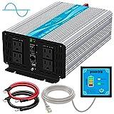 POOXTRA Power Inverter 1000W Pure Sine Wave 12V to 110V Inverter with 4
