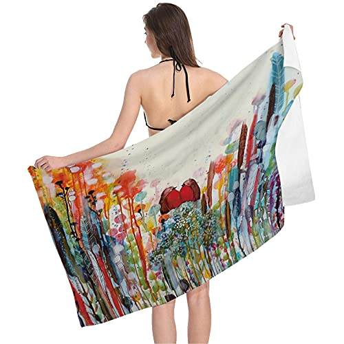 Aproximadamente 80 x 160 cm Colorido Abstracto Pintura Pintura Patrón Elegante Calidad Toalla Playa Toalla Toalla Playa Manta con Para Viajes, Picnic, CAMPING-C3