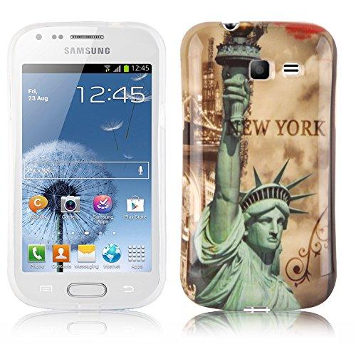 Preisvergleich Produktbild Cadorabo - Hard Cover für Samsung Galaxy Trend LITE - Case Cover Schutzhülle Bumper im Design: New York - Freiheitsstatue