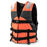 Crown Sporting Goods Multi-Sport Personal Flotation Device Life Vest with Hi-Visibility Reflective Panels and Threading (Safety Orange)
