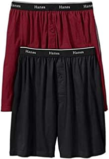 Hanes Men's 2-Pack Knit Short (Large, Burgundy/Black)