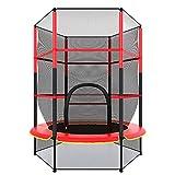 Kinder Trampolin Jumping Fitness Gartentrampolin Outdoor Trampolin/140 cm Durchmesser/Sicherheitsnetz mit Reißverschlussschalter/Max 75 KG belastbar/Conentool (Rot)