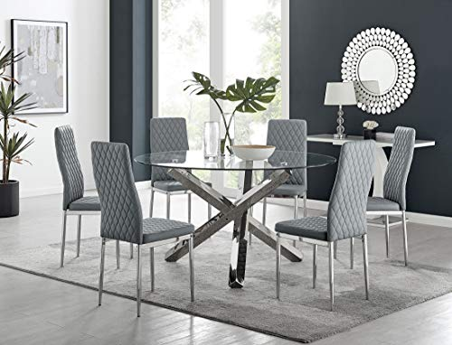 Furniturebox UK Vogue Large Round Circular Chrome Metal Clear Glass 6 Seater Dining Table And 6 Stylish Modern Milan Dining Chairs Set (Dining Table + 6 Grey Milan Chairs)