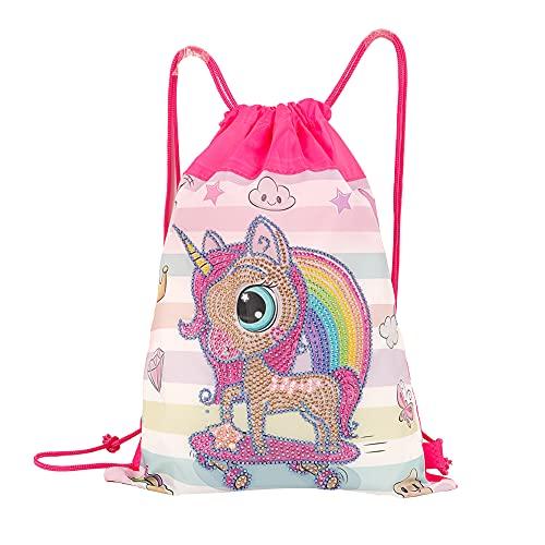 Diamond Painting Drawstring Backpack Gifts for Girl,Kids Drawstring Bag,DIY Special Shaped Drill Unicorn Backpack Kit for Gym Dance Backpack,Makeup Bag,School Bag