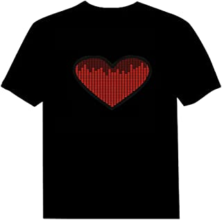 Pawant Adult Couples Audio Control LED Flashing Night Club Wear Cotton T-Shirt Heart L