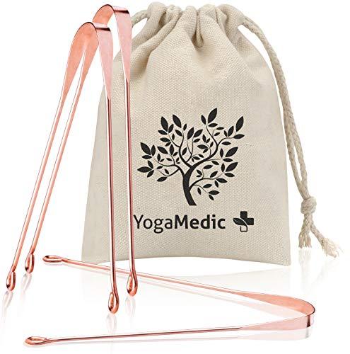 YogaMedic® Tongreiniger BASIC [3x] 100% Koper tegen slechte adem - Tongschraper natuurlijk antimicrobieel - Ayurveda-tongkwast inclusief katoenen zakje