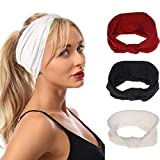 Urieo Yoga African Headbands Black Elastic Knot Hand Bands Running Wide Head Wraps for Women and Girls (Pack of 3)