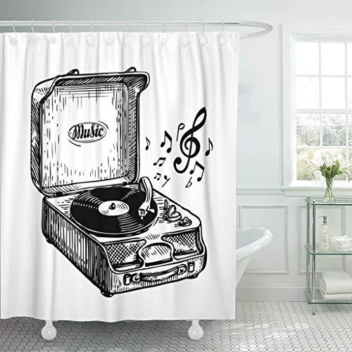 Cortina de Ducha Tocadiscos Vintage Antiguo Reproductor de Discos ...