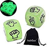 NiuChong 2Pcs Luminous Dice/6 Sided Dice Round Corner Portable Table Playing Toy Luminous Dice Set for Boardgame Night Bar KTV Board Games/Favors Dice Love Products