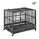 PUPZO Heavy Duty Dog Cage Crate Kennel Carbon Steel with Four Wheels for Large Dogs Easy to Install (42 INCH)