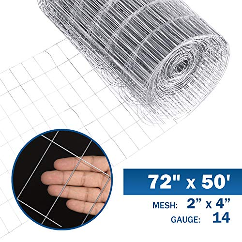 Fencer Wire 14 Gauge Galvanized Welded Wire Mesh Size 2 inch by 4 inch (6 ft. x 50 ft.)
