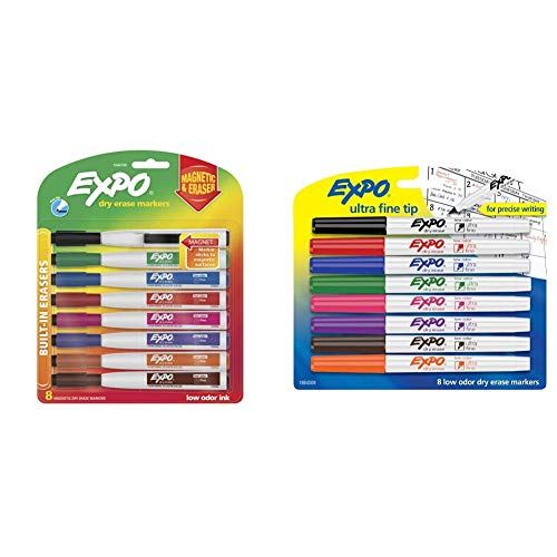 EXPO 1944748 Magnetic Dry Erase Markers with Eraser, Fine Tip, Assorted Colors, 8-Count & 1884309 Low-Odor Dry Erase Markers, Ultra Fine Tip, Assorted Colors, 8-Count