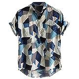 Top Camicia da Uomo con Colletto alla Coreana Hawaiano a Maniche Corte in Cotone Stampa Vintage (XL,22Blu)