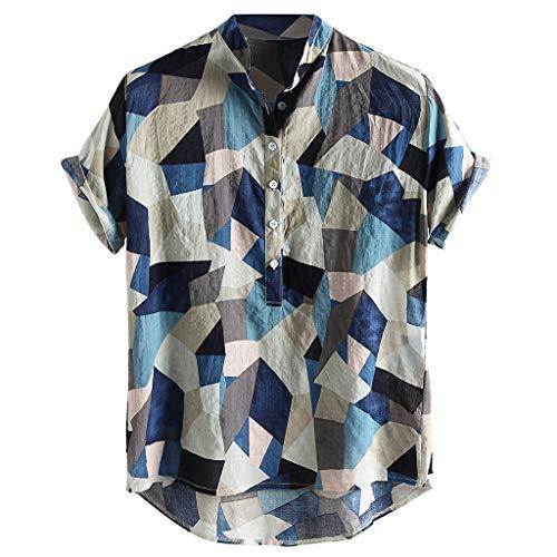 Xmiral T-Shirt Herren Herren Mehrfarbig Taste Kurzarm Rundkragen Lose Hemden Bluse Hawaii Stil Persönlichkeit Oberteile Poloshirt Kurzarmshirt(Y Blau,L)
