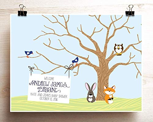 Baby Shower Guest Book Woodland Animals Alternative Thumbprint Tree Print