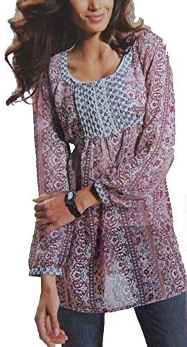 Tunika oder Kleid Gr. 42 Bluse Beere Ethno-Style 98483