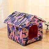 wsy Casa para Gatos Callejeros, Arena para Gatos Impermeable, Caseta para Perros, Gato Callejero Al Aire Libre, Casa Cálida para Mascotas, Casa Plegable Y Lavable-Verde Camuflaje||L:43 * 40 * 42