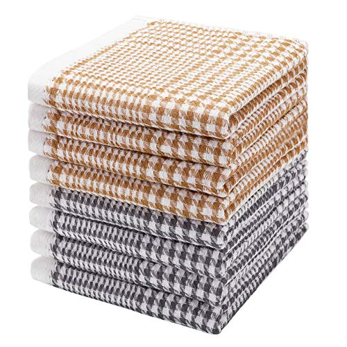 Tes Serviettes Coton Lot de 8 Torchons en Eponge pour Torchons de Cuisine Torchons de Cuisine Super Absorbants et Non Pelucheux 30cm x 30cm Tes Serviettes pour Laver et Sécher