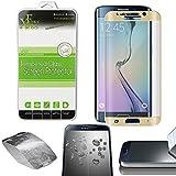 Xtra-Funky Gamme Samung Galaxy S6 Edge PLUS Plein Incurvée Très Mince 0.26mm Protecteur d'écran en Verre Trempé et Résistant aux Rayures - Or
