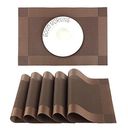 CHAOCHI Manteles Individuales Lavables Salvamantele Individuales PVC Antideslizantes Resistente al Calor Juego de 6 para la Mesa de Comedor...