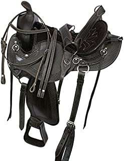 AceRugs Extreme Comfort Black Gaited Western Leather Trail Endurance Horse Saddle & Tack