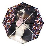 傘オートオープンクローズいたずら子犬Dog 3 Folds Anti-UV Lightweight