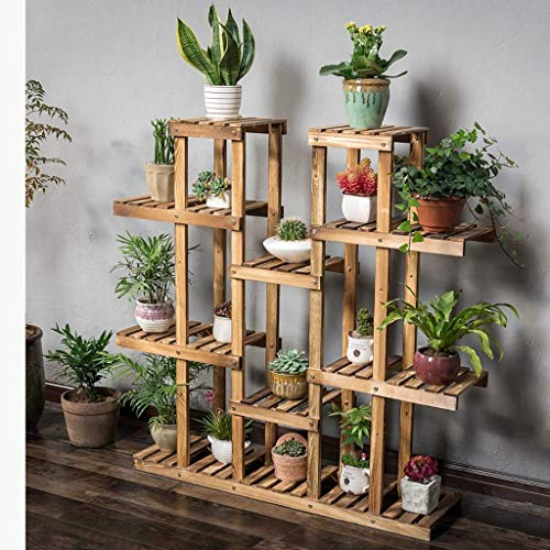 LLYU Stand de fleurs Grandes étagères de rangement en bois de 9 couches Pratiques de bricolage Support de présentoir de plateau Salle de bain, Cuisine, Salon, Support de balcon