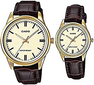 Casio His and Hers Leather Band Couple Watch [MTP/LTP-V005GL-9A]