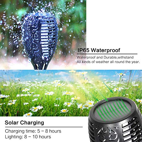 DIKAIDA 4PCs Solar Torch Lights, Upgrade Outdoor Tiki Light, 96 LED Waterproof Flickering Flame Torches, Landscape Decoration Lighting, Auto On/Off Dusk to Dawn