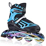 ITurnGlow Boys Adjustable Inline Skates for Kids and Adults with Full Light Up...