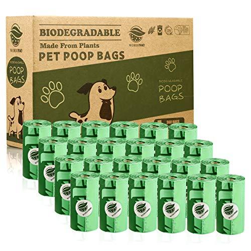 WORDKEN 30% Más Grueso Biodegradables Caca Perro 360 Bolsas Pare Excrementos Perros,...
