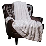 Chanasya Fuzzy Faux Fur Soft Wave Embossed Throw Blanket - Cozy and Warm Lightweight Reversible...