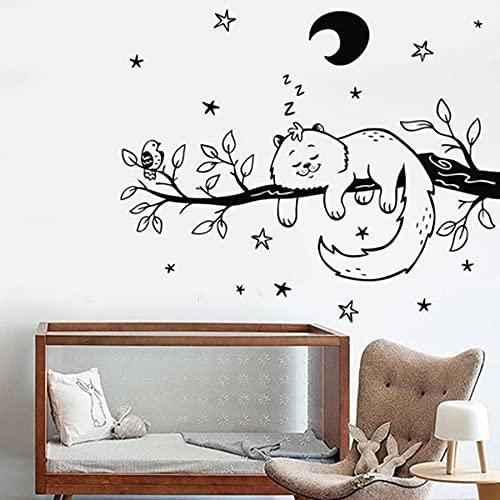 WERWN Dormir Gato Tatuajes de Pared Ramas de pájaros Estrellas de la Noche Luna Pegatinas de Ventana de Vinilo Dormitorio de los niños habitación de bebé decoración del hogar