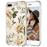 MOSNOVO iPhone 7 Plus/8 Plus Hülle, Champagner Rosen Blühen Blumen Muster TPU Bumper mit Hart Plastik Hülle Durchsichtig Schutzhülle Transparent für iPhone 7 Plus/8 Plus (Champagne Roses)