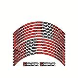 Etiquetas engomadas de Las calcomanías de la Rueda de la Motocicleta Establecer Rayas laminadas para Kawasaki Z300 (Color : Red)