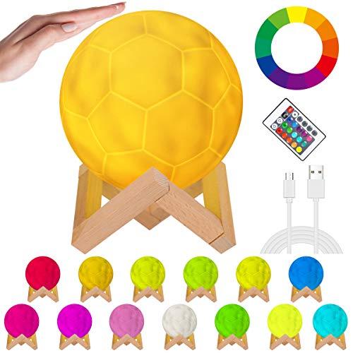 OVAREO Fußball Lampe,LED Fußball Lampe, Fußball Nachtlicht,Farbige Dekoleuchte 16 Lichtfarben Fechselbar mit Fernbedienung & Touch-Steuerung, für Heimdekoration und Geschenke