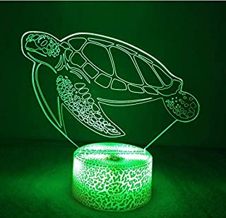 HPBN8 3D Sea Turtle Night Light USB Touch Switch Decor Table Desk Optical Illusion Lamps 7 Color Changing Lights LED Table Lamp Xmas Home Love Brithday Children Kids Decor Toy Gift