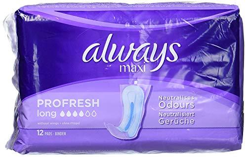 Always Maxi Profresh - Compresas largas sin alas (12 unidades)