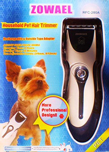 Zowael RFC-280A geluidsarme tondeuse hond en kat oplaadbare draadloze elektrische stille dierentondeuse