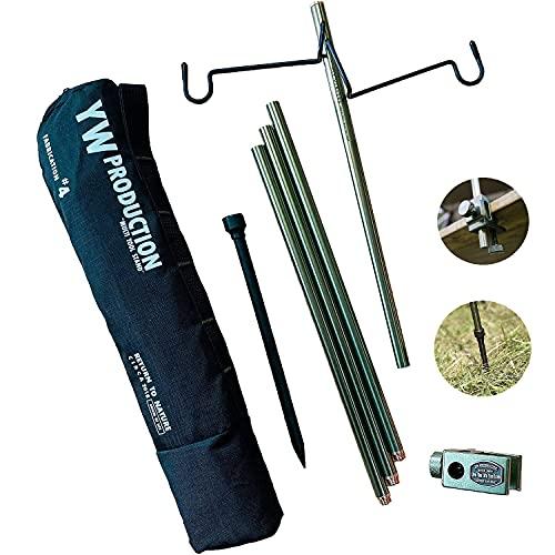 YaeiWorkers (ヤエイワーカーズ) ランタンスタンド ランタンポール 高強度アルミ製 コンパクト 軽量 折りたたみ式 ランタンハンガー2個付 クランプ式 打ち込む式両用