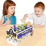 Martillo de madera para niños con banco de golpeo de colores con 2 martillos, juguete educativo para aprender a preescolar, regalo para niños pequeños, niñas a partir de 1, 2, 3 años