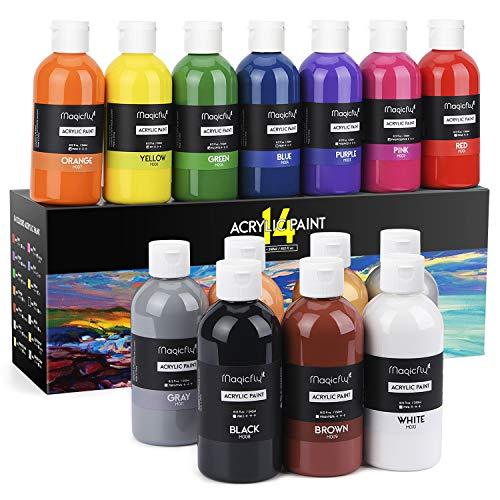 Magicfly 14 Farben waschfeste Acrylfarbe Set, je Flaschen 240 ml, ideal für Leinwand, Papier, Holz, Stein, Keramik, Modell