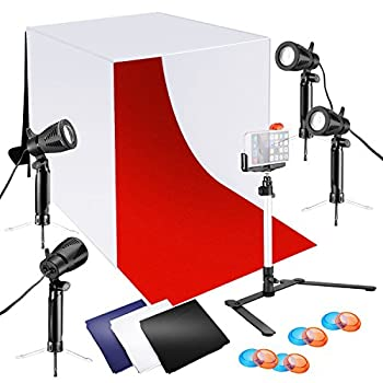 Neewer 24x24 inches Tabletop Photography Lightbox Light Tent Lighting Kit with LED Light Color Backdrops Gel Filters Stand with Cellphone Clip for iPhone11/11 Pro/11 Pro Max Samsung Galaxy S10+10