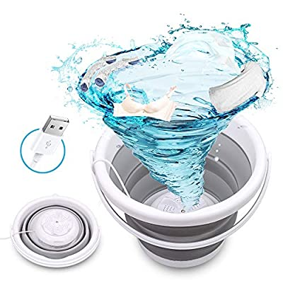 Mini Washing Machine, Ultrasonic Turbine Washer, Foldable Laundry Tub With USB Powered, Portable Compact Personal Baby Clothes Washer for Home Travel Apartments Dorms Socks Underwear Bra
